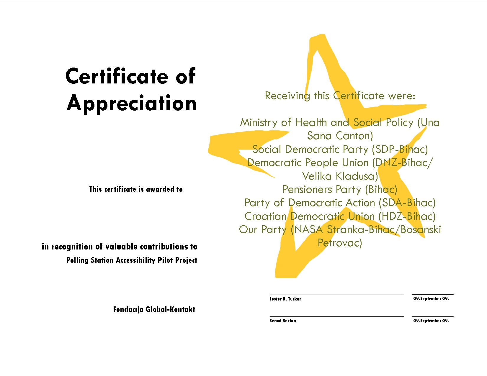 Examples of Certificate of Appreciation http://article29.org/english.htm
